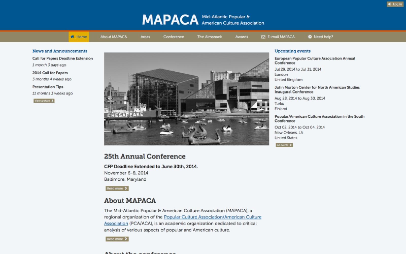 mapaca.net 2014 front page