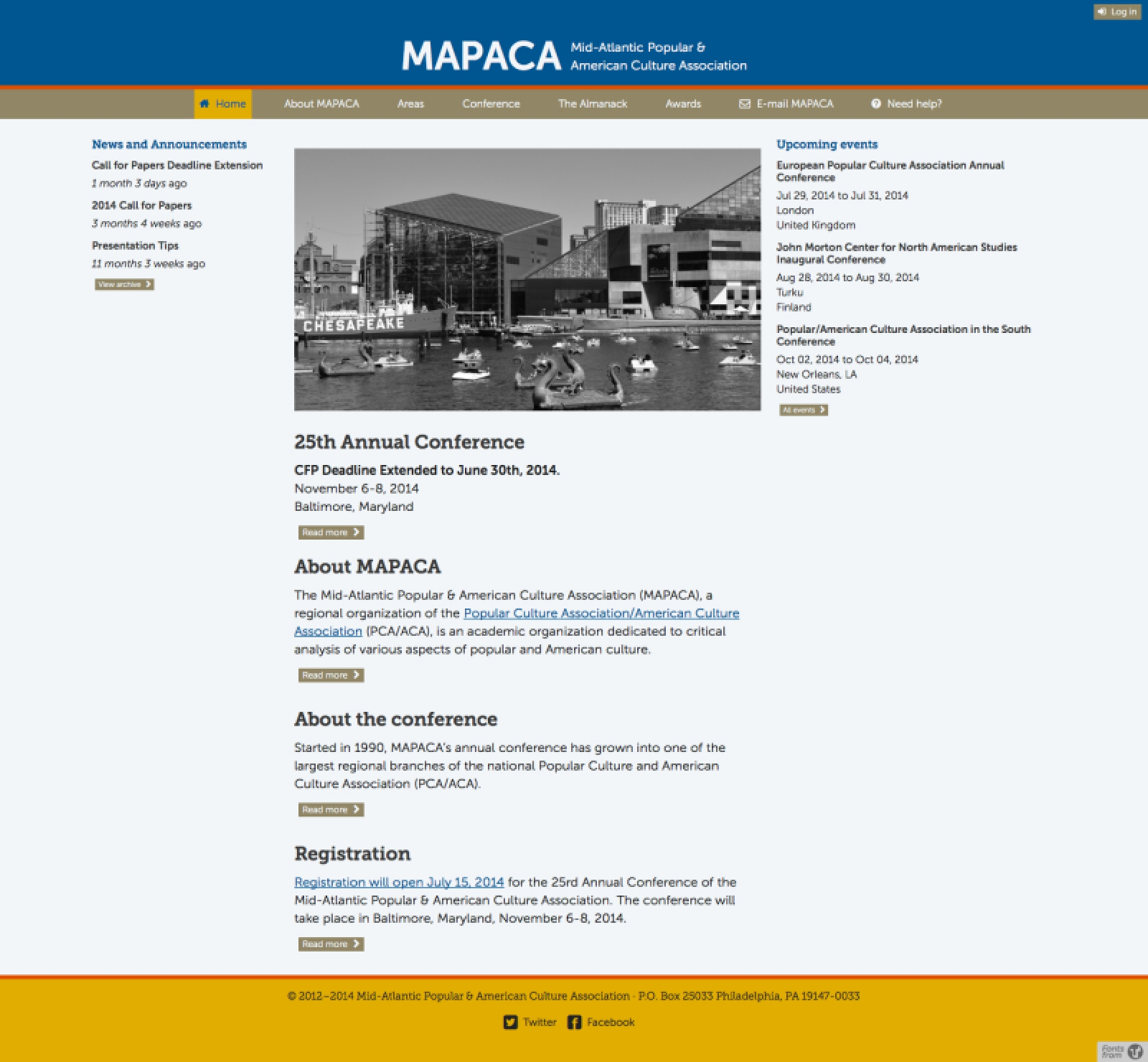 mapaca.net 2014 front page